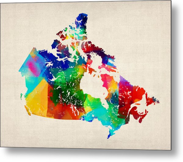 Canada Rolled Paint Map Metal Print by Michael Tompsett