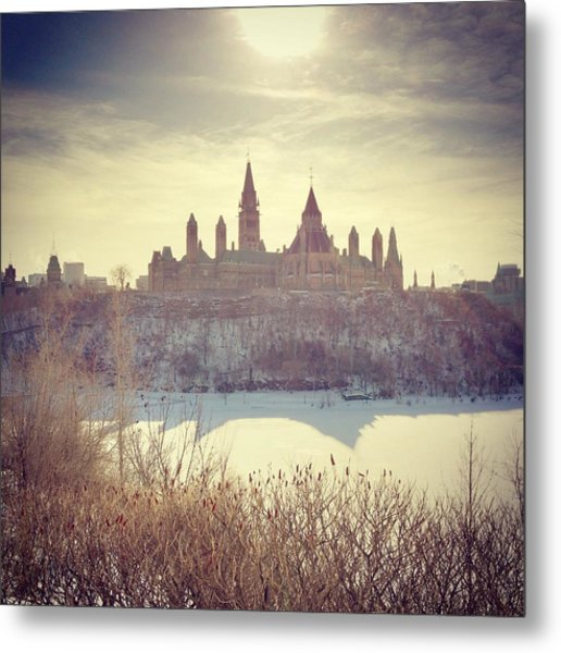 Canadas Parliament Buildings In Winter Metal Print