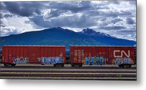 Canadian Freight Train In Jasper Metal Print