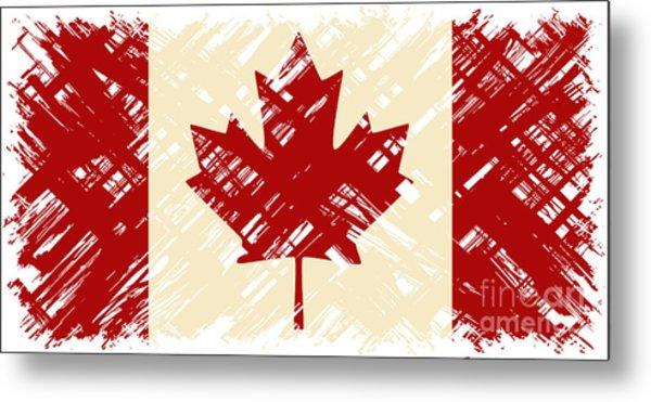 Canadian Grunge Flag. Vector Metal Print by Khvost