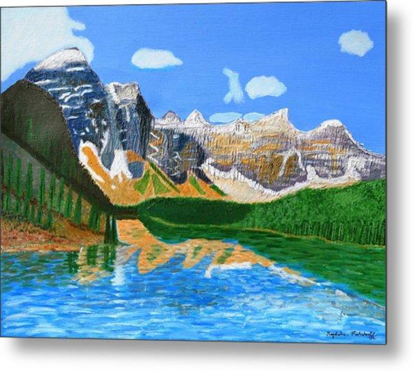Canadian Mountains And Lake  Metal Print