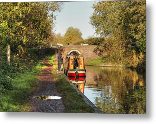 Canal Boat At Compton Lock Metal Print