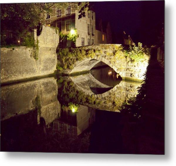 Canal Bridge Reflection Metal Print