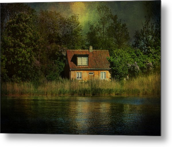 Canal Cottage Metal Print