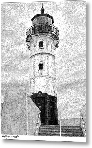 Metal Print featuring the drawing Canal Park Lighthouse by Rob Christensen