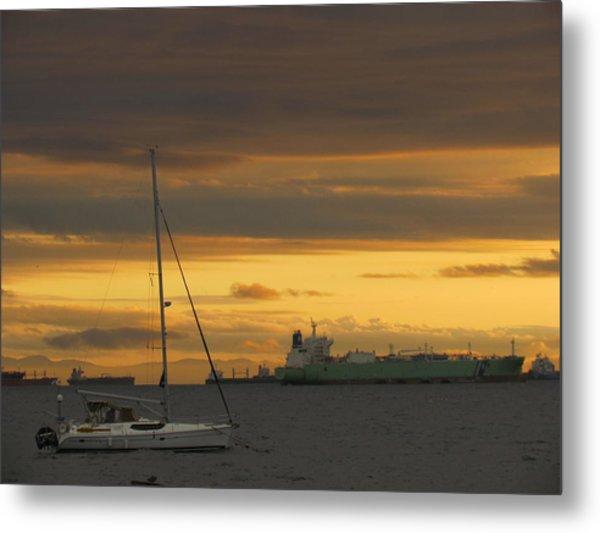 Canal Ship Sunrise Metal Print