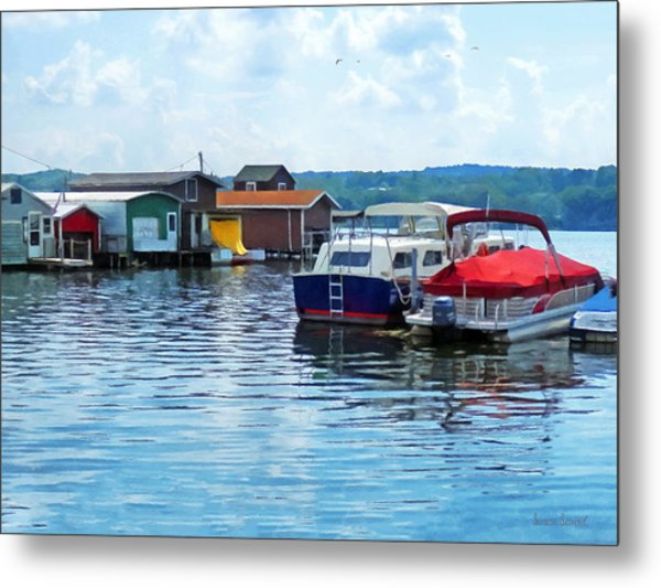 Canandaigua Fishing Shacks Metal Print