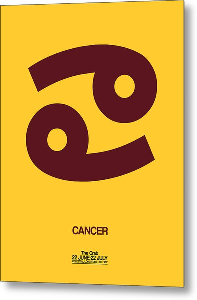 Cancer Zodiac Sign Brown Metal Print