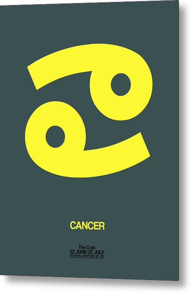 Cancer Zodiac Sign Yellow Metal Print