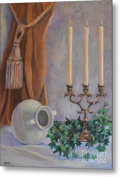 Candelabra With White Vase Metal Print by Jana Baker