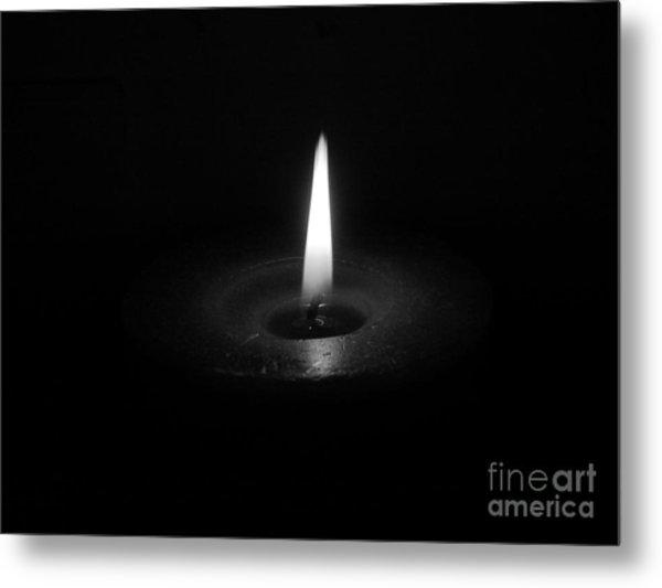 Candle B-w Metal Print