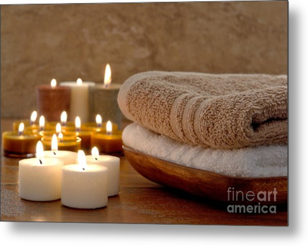 Metal Print featuring the photograph Candles And Towels In A Spa by Olivier Le Queinec