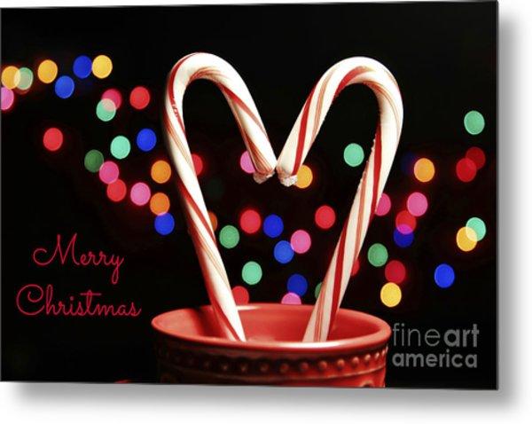 Candy Cane Heart Card Metal Print