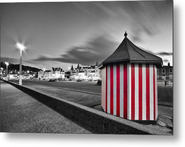 Candy Stripe Kiosk Metal Print