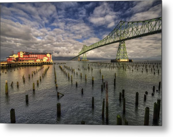 Cannery Pier Hotel And Astoria Bridge Metal Print
