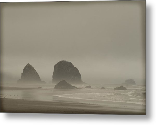 Cannon Beach In A Fog Oregon Metal Print