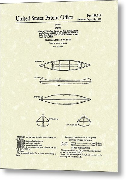Canoe 1963 Patent Art Metal Print