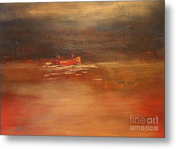 Canoe At Dusk Metal Print