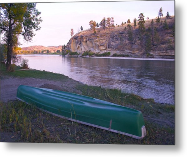 Canoe By River Metal Print