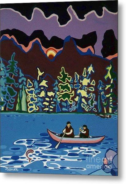 Canoe On Lightning Lake Metal Print