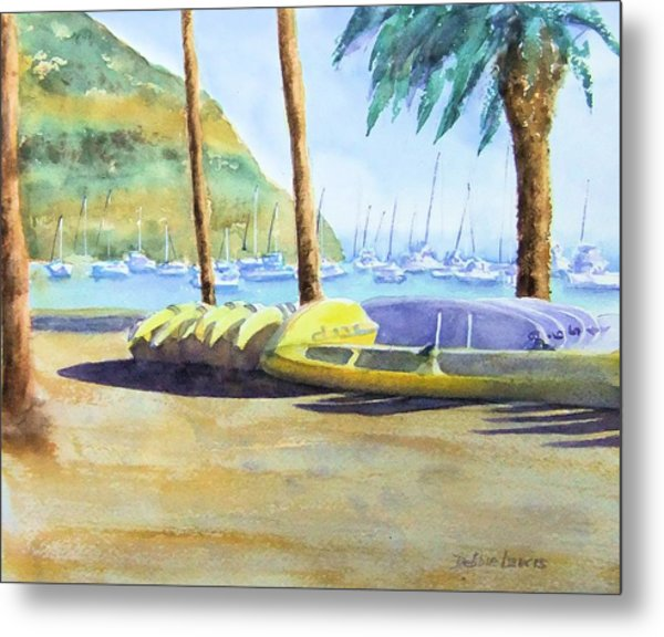 Canoes And Surfboards In The Morning Light - Catalina Metal Print