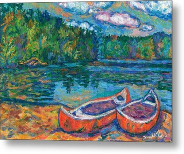 Canoes At Mountain Lake Sketch Metal Print
