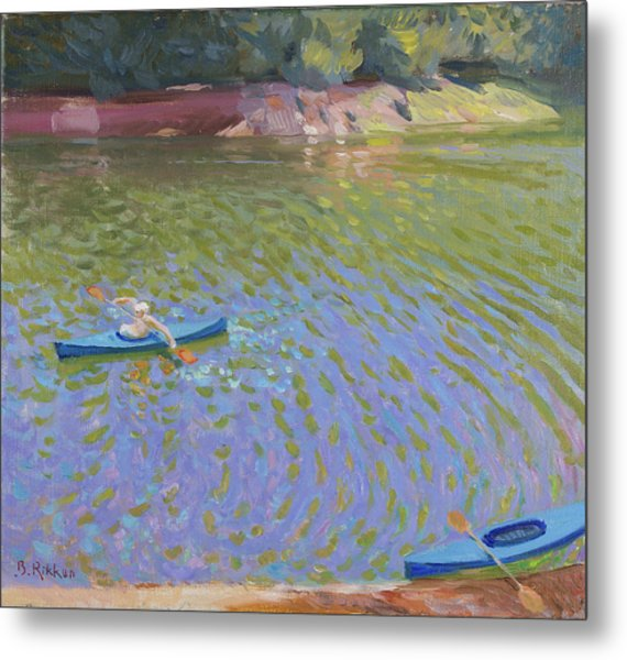 Canoes At The Lac De Pannaciere  Metal Print by Ben Rikken