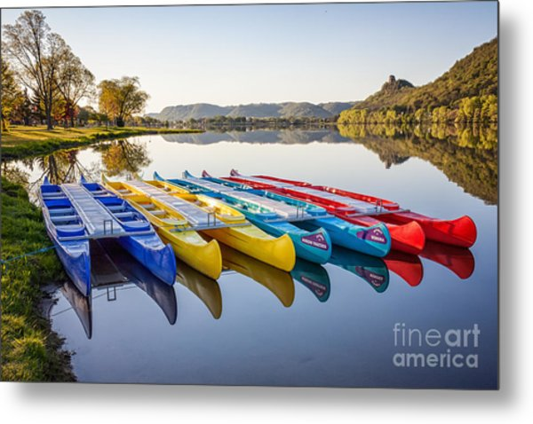 Metal Print featuring the photograph Canoes Color 2x3 by Kari Yearous