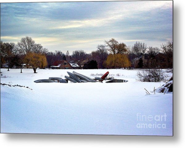 Canoes In The Snow Metal Print