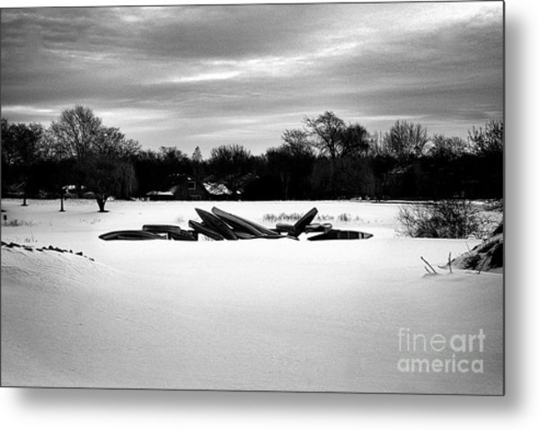 Canoes In The Snow - Monochrome Metal Print