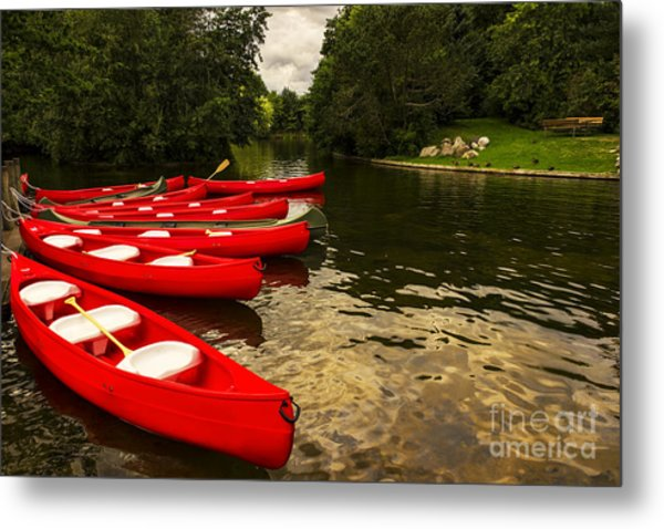 Canoes On A Lake Metal Print
