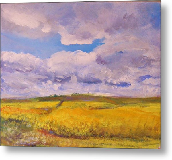 Canola And Clouds Metal Print