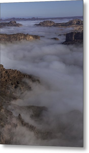 Canyon Rims Float In Fog Metal Print