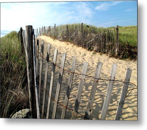 Cape Cod Dune Fencing Metal Print