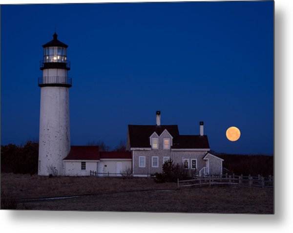 Cape Cod Moonset Metal Print