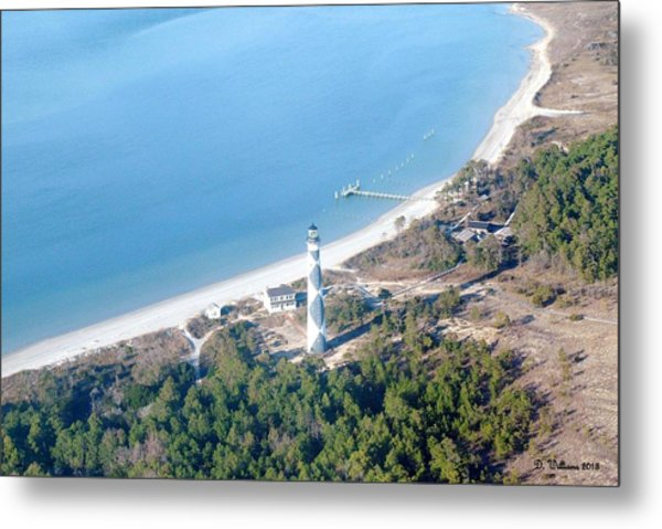 Cape Lookout Lighthouse Aerial View Metal Print