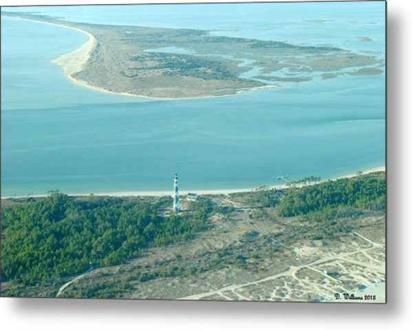 Cape Lookout Lighthouse From The Air Metal Print