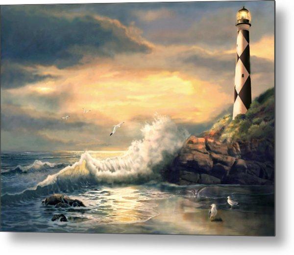 Twindeling Light Cape Lookout Lighthouse North Carolina At Sunset  Metal Print