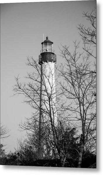 Cape May Light B/w Metal Print