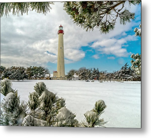 Cape May Light Thru Snowy Trees Metal Print