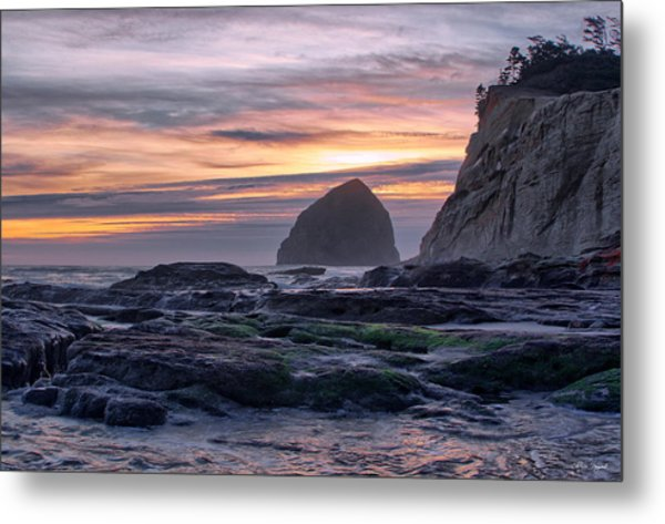 Cape Rocks And Surf Sunset Metal Print