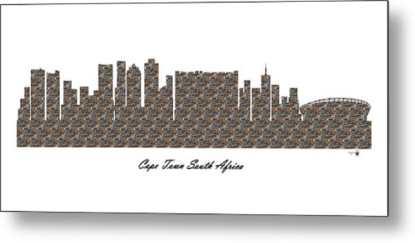 Cape Town South Africa 3d Stone Wall Skyline Metal Print