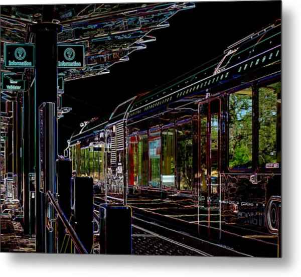 Capital Metro Rail In Neon Metal Print