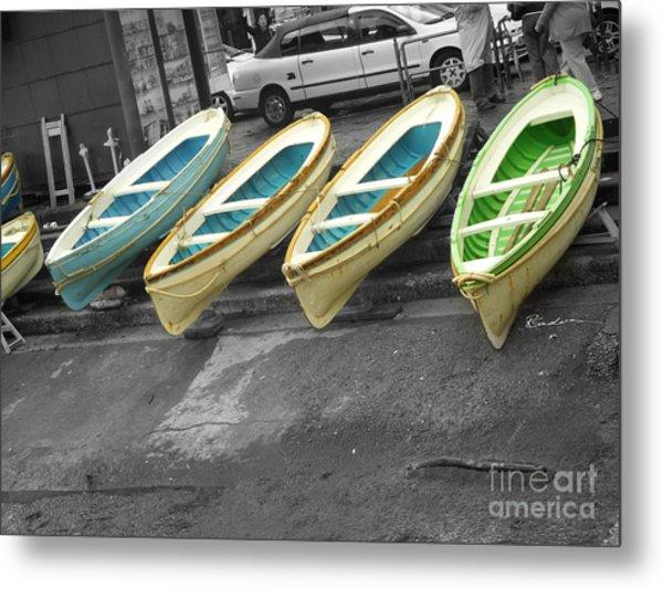 Capri Italy Aqua Green Boats Metal Print