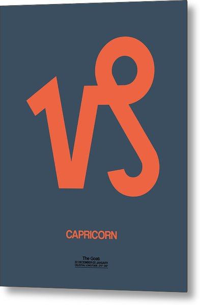 Capricorn Zodiac Sign Orange Metal Print