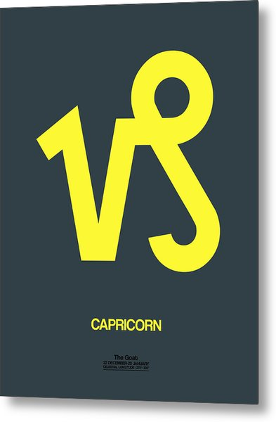 Capricorn Zodiac Sign Yellow Metal Print