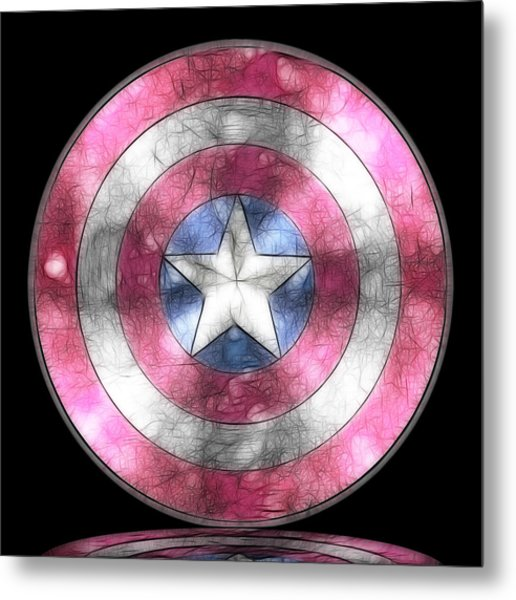 Captain America Shield Digital Painting Metal Print