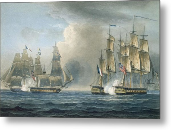 Capture Of The Pomone By Hms Arethusa Metal Print