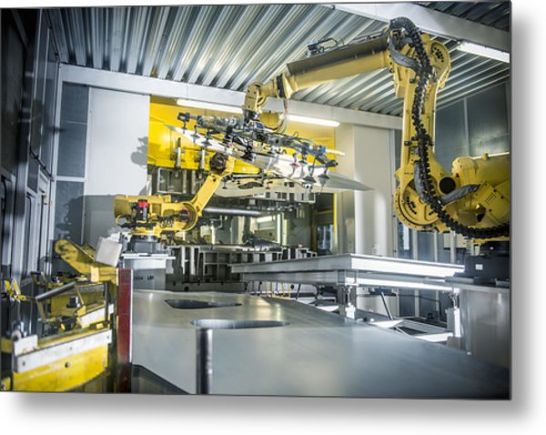 Car Parts Handled By Robots In Car Factory Metal Print by Monty Rakusen