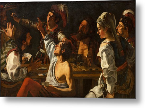 Card And Backgammon Players. Fight Over Cards Metal Print